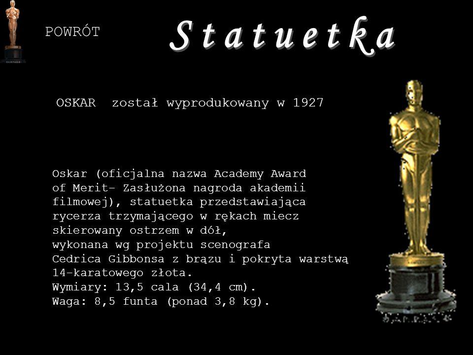 Statuetka POWRÓT OSKAR został wyprodukowany w 1927