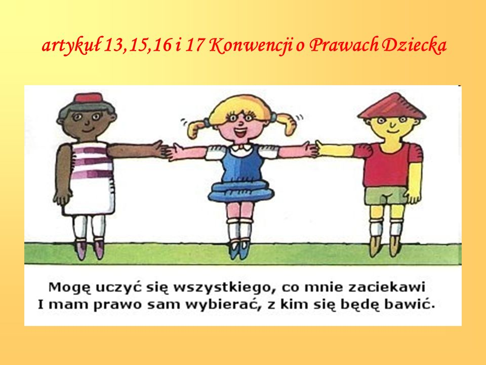 artykuł 13,15,16 i 17 Konwencji o Prawach Dziecka