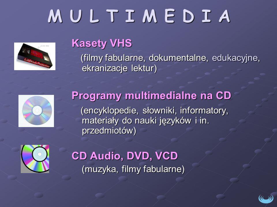 M U L T I M E D I A Kasety VHS. (filmy fabularne, dokumentalne, edukacyjne, ekranizacje lektur) Programy multimedialne na CD.