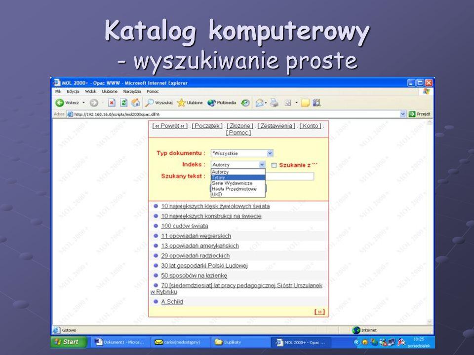 Katalog komputerowy - wyszukiwanie proste