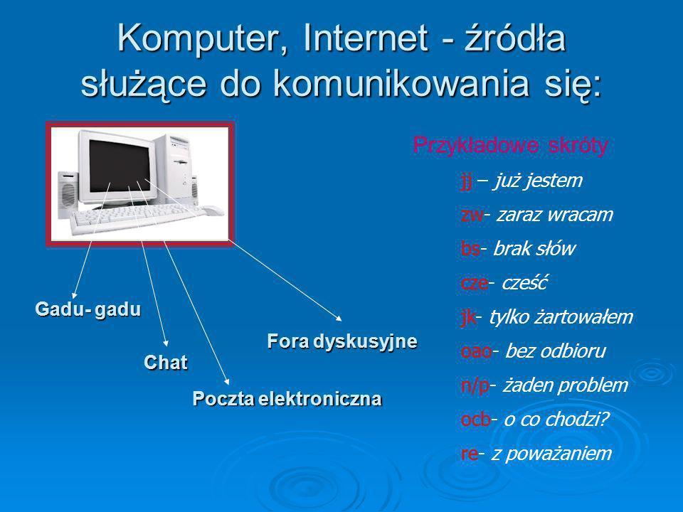 Komputer, Internet - źródła służące do komunikowania się: