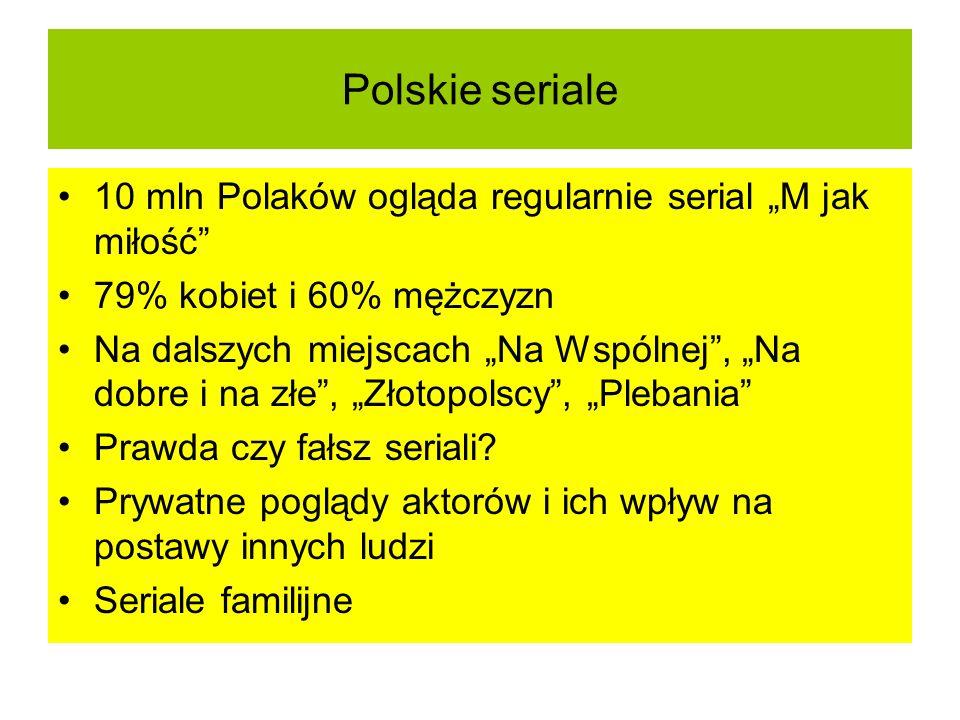 """Polskie seriale 10 mln Polaków ogląda regularnie serial """"M jak miłość"""