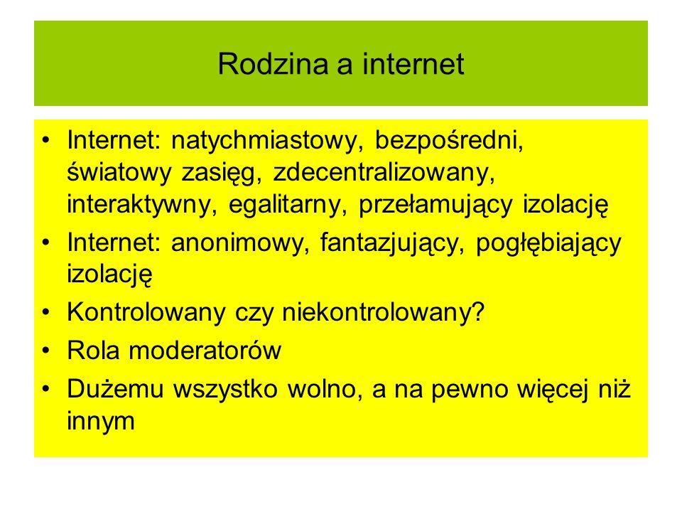 Rodzina a internet Internet: natychmiastowy, bezpośredni, światowy zasięg, zdecentralizowany, interaktywny, egalitarny, przełamujący izolację.