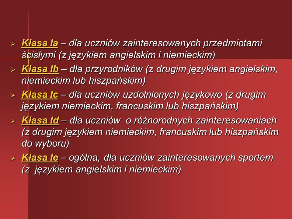 Klasa Ia – dla uczniów zainteresowanych przedmiotami ścisłymi (z językiem angielskim i niemieckim)