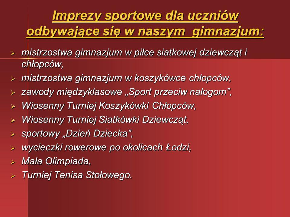 Imprezy sportowe dla uczniów odbywające się w naszym gimnazjum: