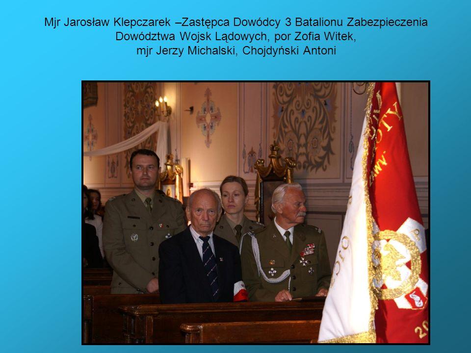Mjr Jarosław Klepczarek –Zastępca Dowódcy 3 Batalionu Zabezpieczenia Dowództwa Wojsk Lądowych, por Zofia Witek, mjr Jerzy Michalski, Chojdyński Antoni