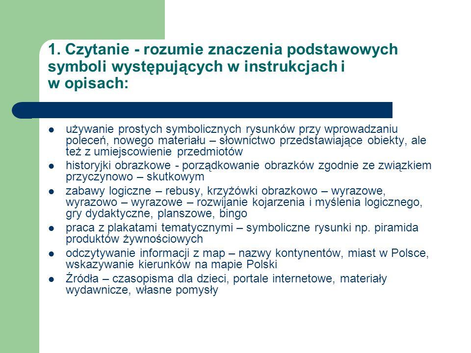 1. Czytanie - rozumie znaczenia podstawowych symboli występujących w instrukcjach i w opisach:
