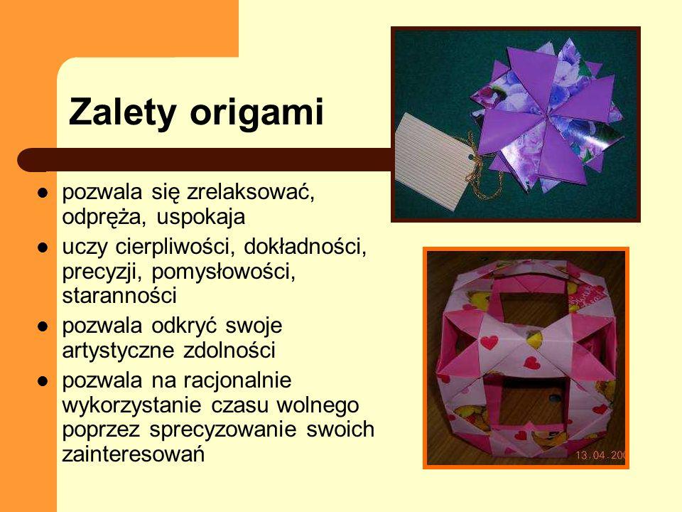 Zalety origami pozwala się zrelaksować, odpręża, uspokaja