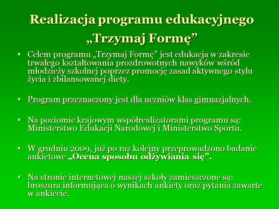 """Realizacja programu edukacyjnego """"Trzymaj Formę"""
