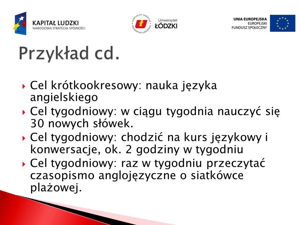 Przykład cd. Cel krótkookresowy: nauka języka angielskiego