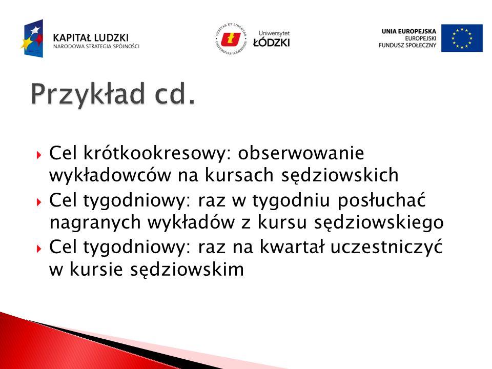 Przykład cd. Cel krótkookresowy: obserwowanie wykładowców na kursach sędziowskich.