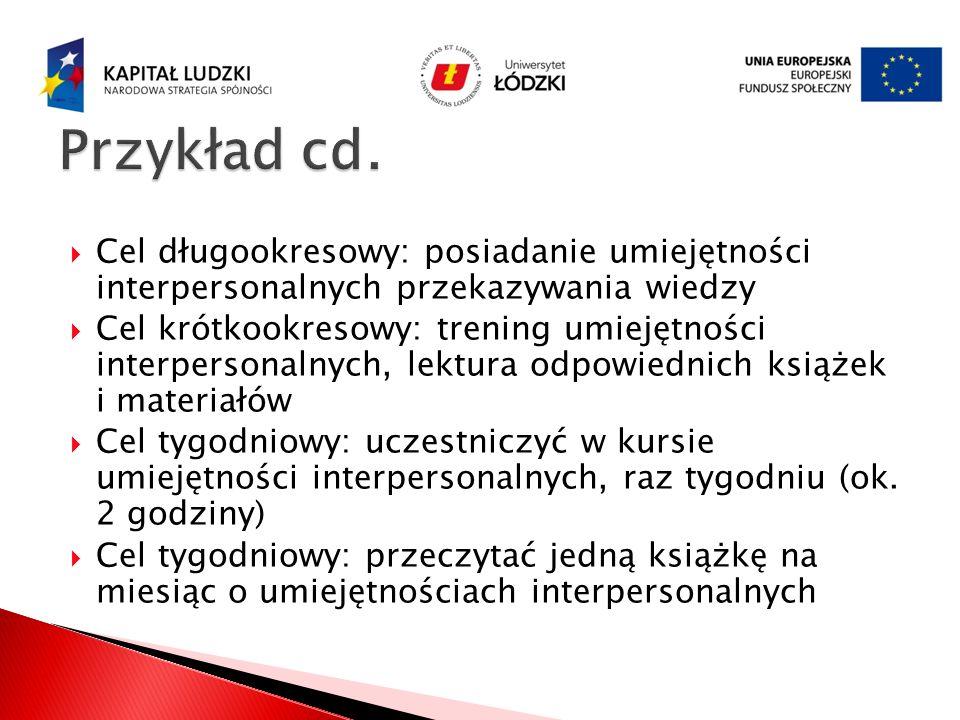 Przykład cd. Cel długookresowy: posiadanie umiejętności interpersonalnych przekazywania wiedzy.