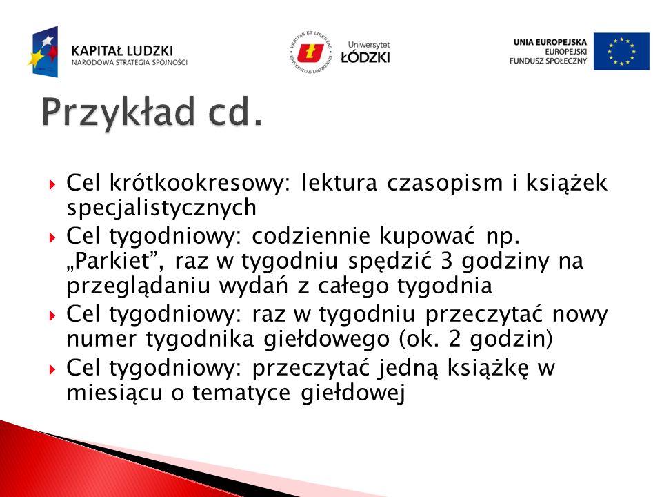 Przykład cd. Cel krótkookresowy: lektura czasopism i książek specjalistycznych.