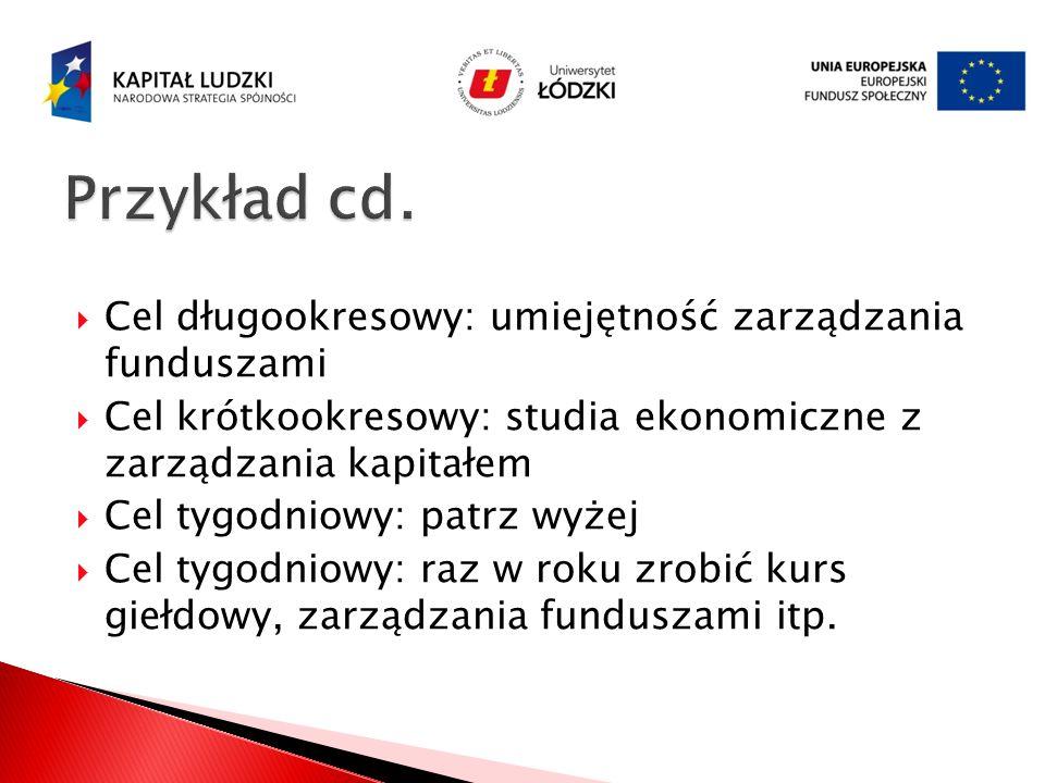 Przykład cd. Cel długookresowy: umiejętność zarządzania funduszami