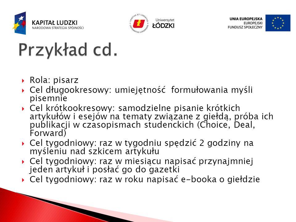 Przykład cd. Rola: pisarz