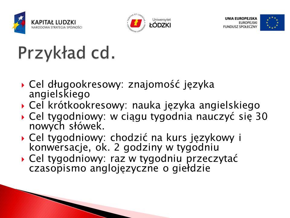 Przykład cd. Cel długookresowy: znajomość języka angielskiego