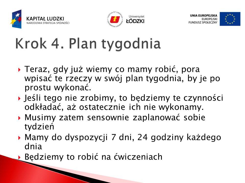 Krok 4. Plan tygodnia Teraz, gdy już wiemy co mamy robić, pora wpisać te rzeczy w swój plan tygodnia, by je po prostu wykonać.