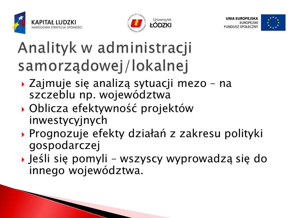 Analityk w administracji samorządowej/lokalnej
