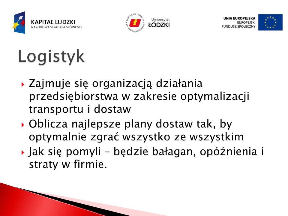 Logistyk Zajmuje się organizacją działania przedsiębiorstwa w zakresie optymalizacji transportu i dostaw.