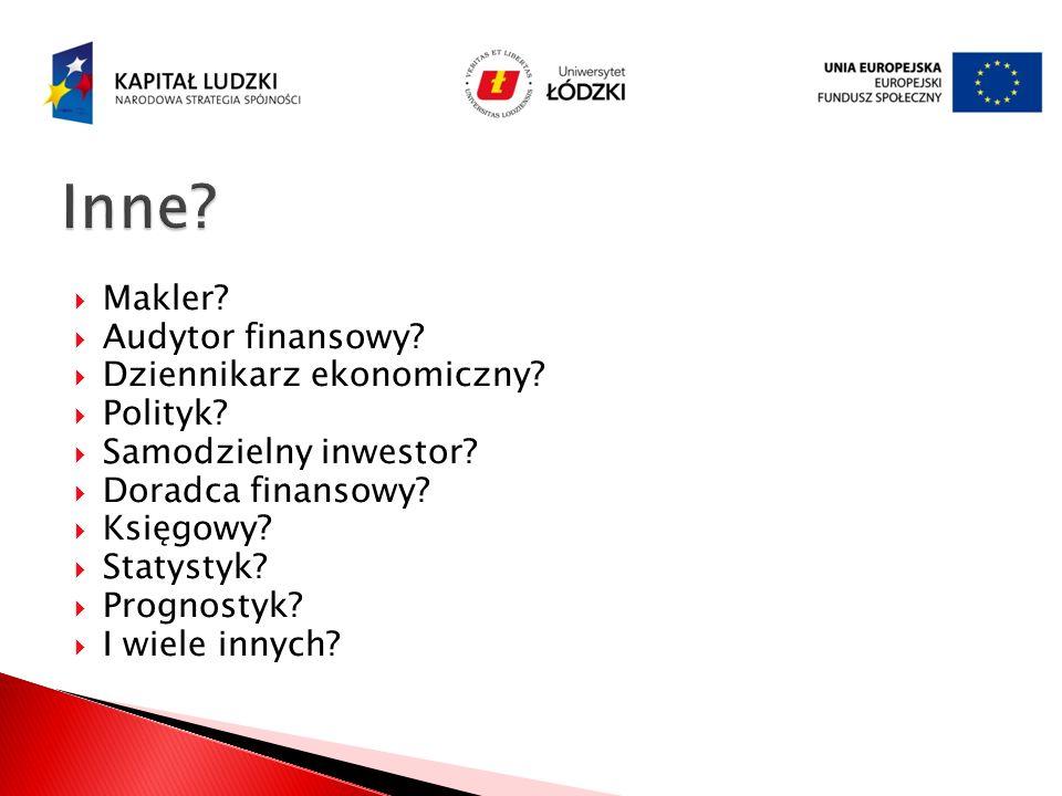 Inne Makler Audytor finansowy Dziennikarz ekonomiczny Polityk