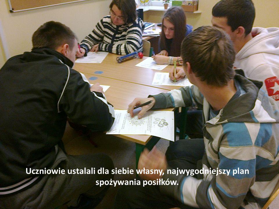 Uczniowie ustalali dla siebie własny, najwygodniejszy plan spożywania posiłków.