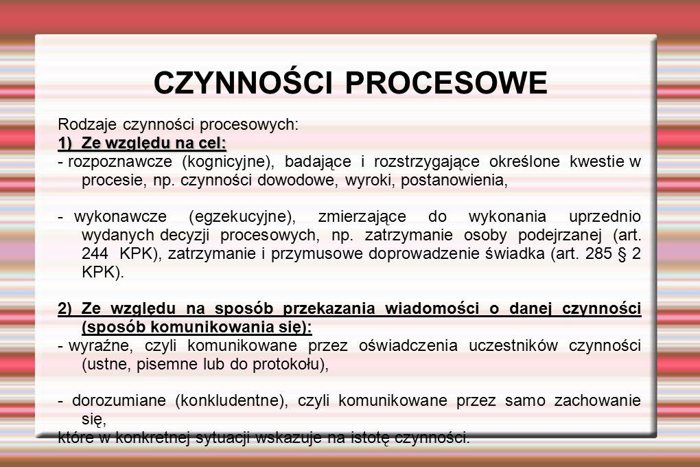 CZYNNOŚCI PROCESOWE Rodzaje czynności procesowych: