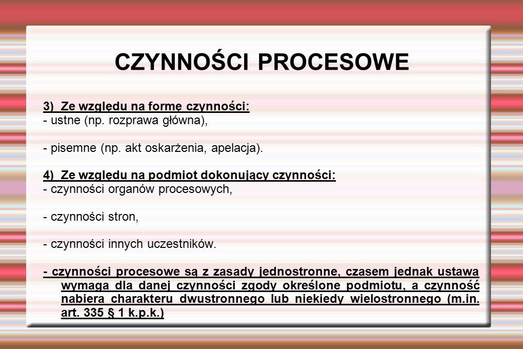 CZYNNOŚCI PROCESOWE 3) Ze względu na formę czynności: