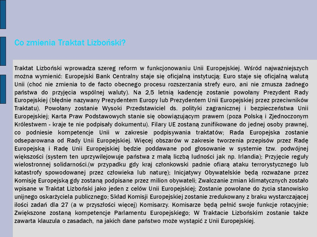 Co zmienia Traktat Lizboński
