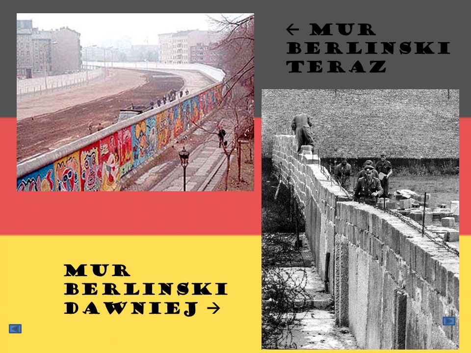  Mur Berlinski teraz Mur berlinski dawniej 