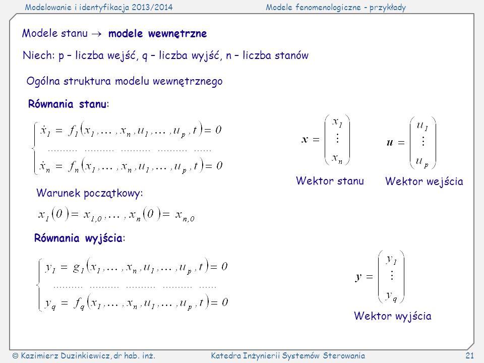 Modele stanu  modele wewnętrzne