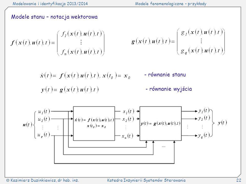 Modele stanu – notacja wektorowa