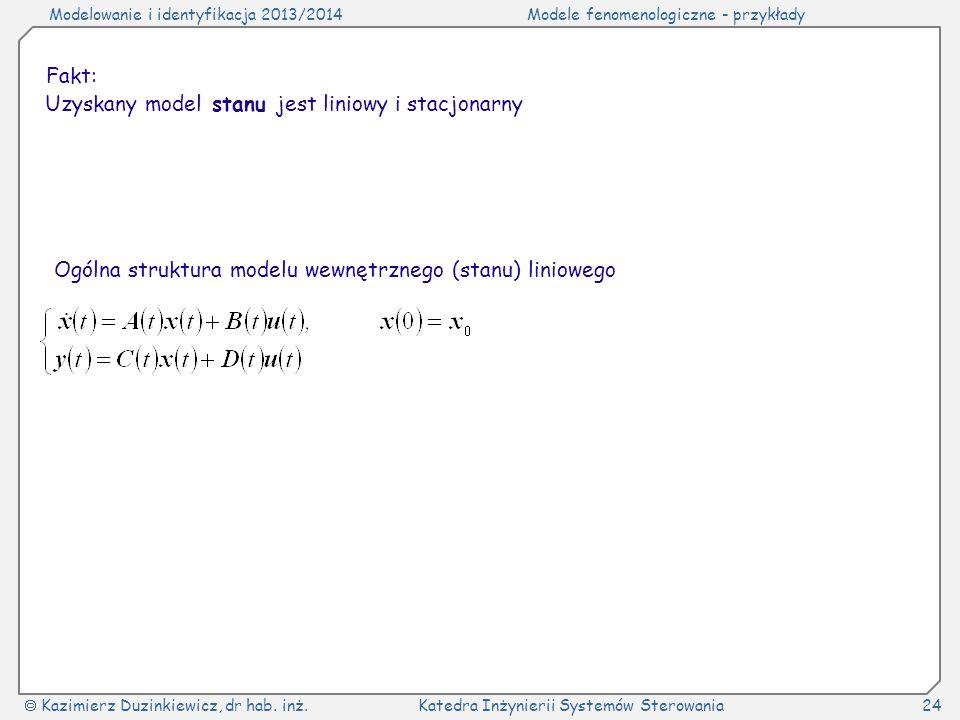 Fakt: Uzyskany model stanu jest liniowy i stacjonarny.