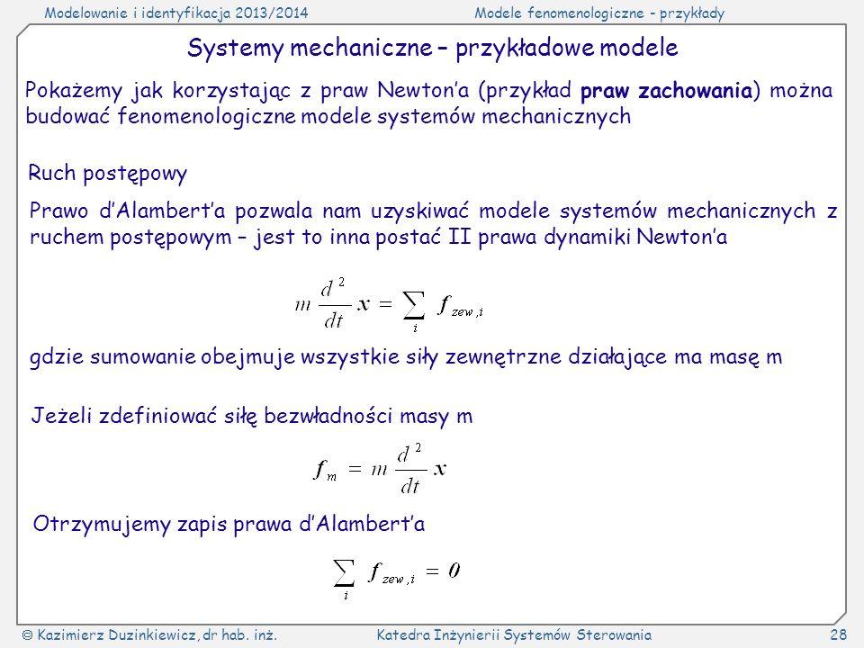 Systemy mechaniczne – przykładowe modele