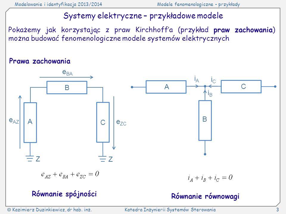 Systemy elektryczne – przykładowe modele