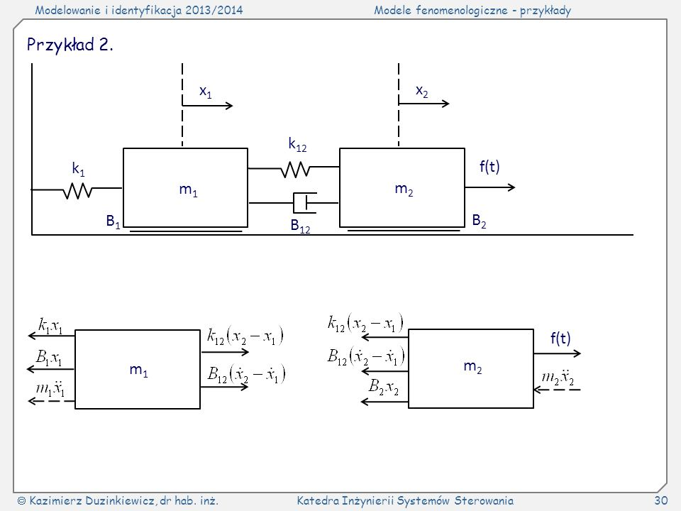 Przykład 2. m1 m2 k1 k12 B12 B1 B2 x1 x2 f(t) m1 m2 f(t)