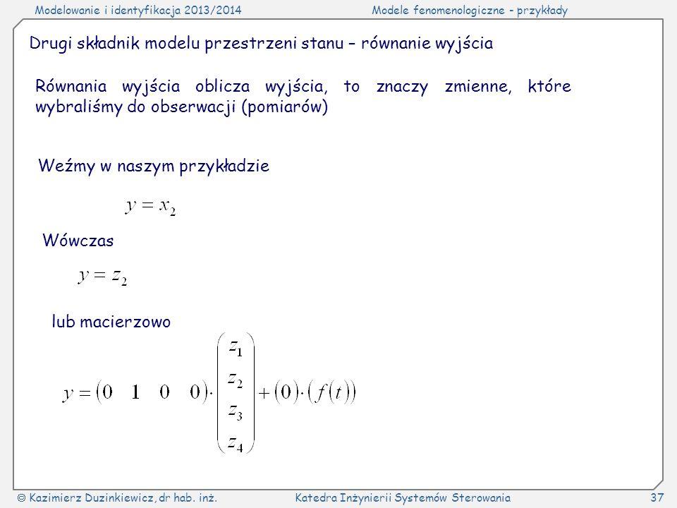 Drugi składnik modelu przestrzeni stanu – równanie wyjścia