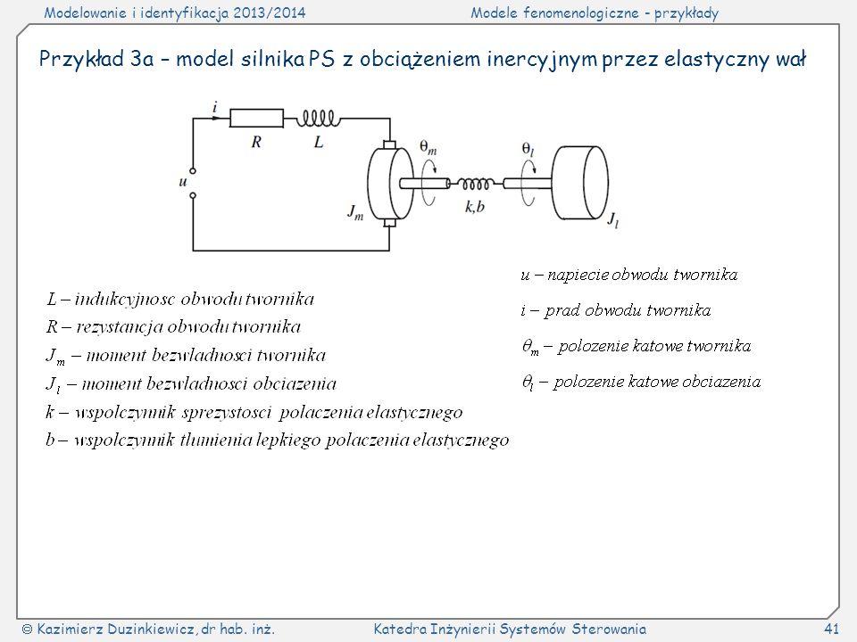 Przykład 3a – model silnika PS z obciążeniem inercyjnym przez elastyczny wał