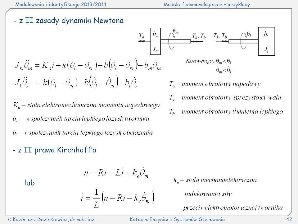 - z II zasady dynamiki Newtona