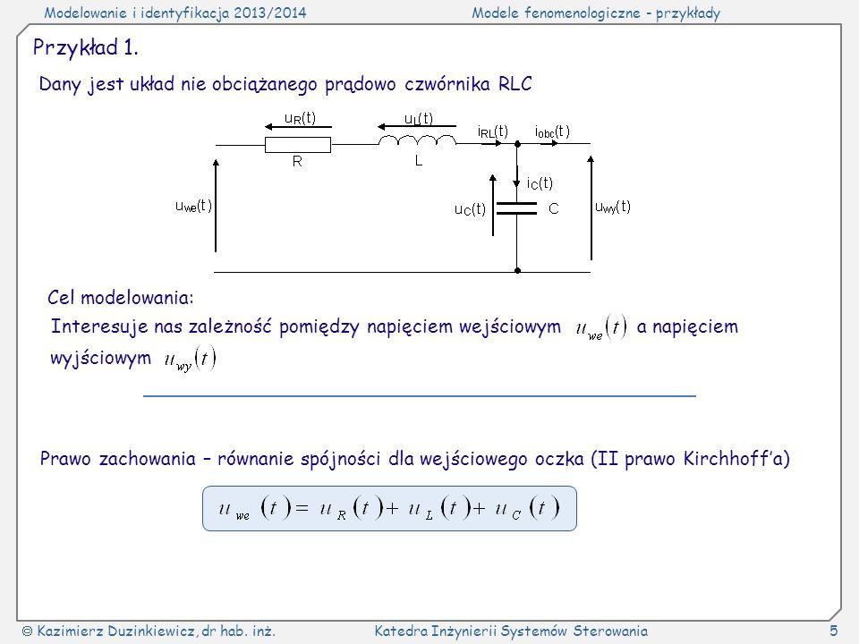 Przykład 1. Dany jest układ nie obciążanego prądowo czwórnika RLC