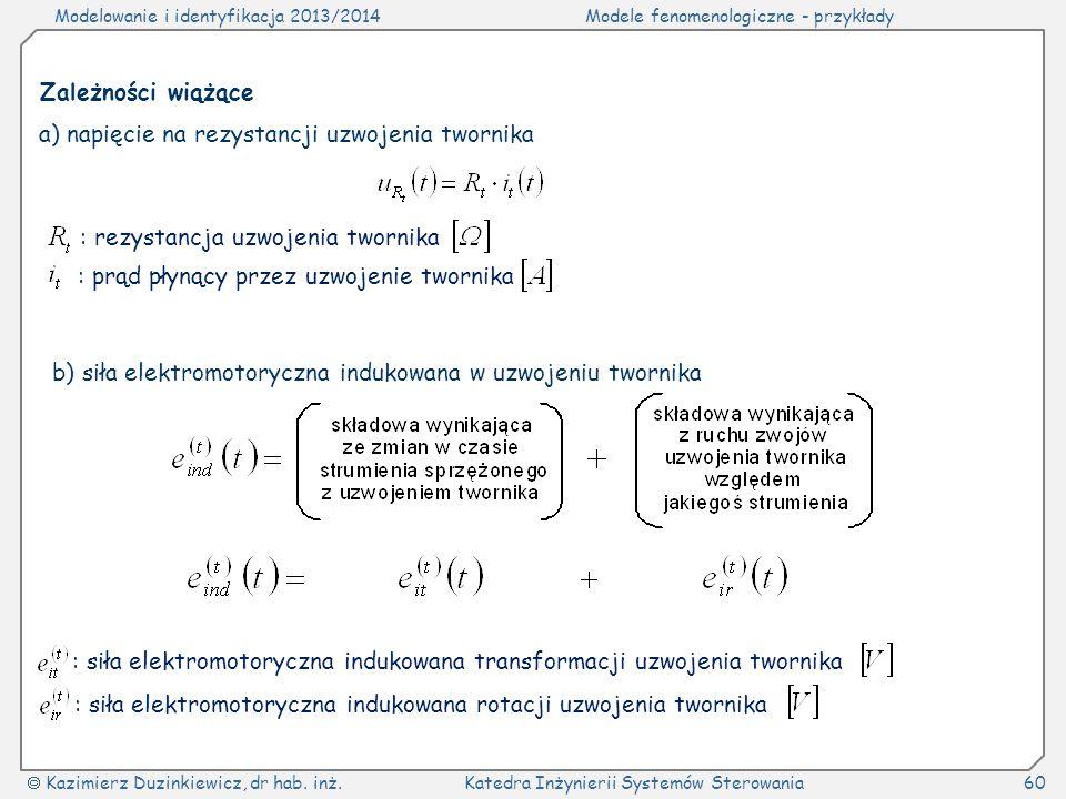 Zależności wiążące a) napięcie na rezystancji uzwojenia twornika. : rezystancja uzwojenia twornika.