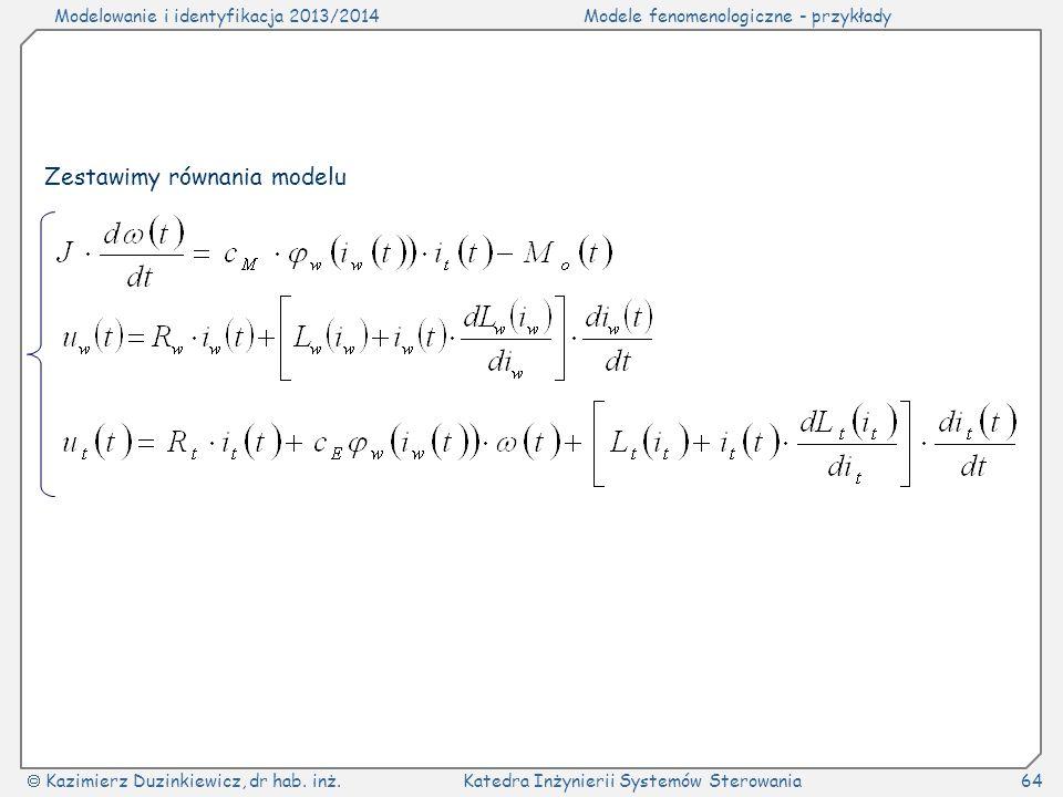 Zestawimy równania modelu