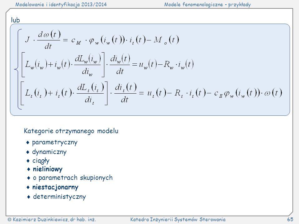lub Kategorie otrzymanego modelu.  parametryczny.  dynamiczny.  ciągły.  nieliniowy.  o parametrach skupionych.