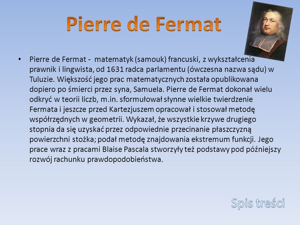 Pierre de Fermat Spis treści
