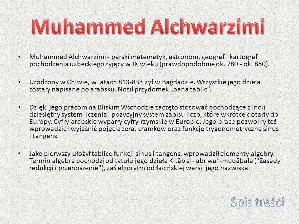 Muhammed Alchwarzimi Spis treści