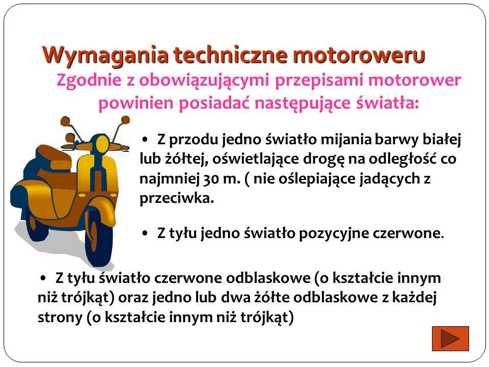 Wymagania techniczne motoroweru