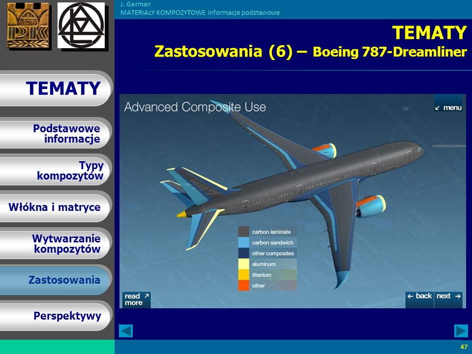 TEMATY Zastosowania (6) – Boeing 787-Dreamliner