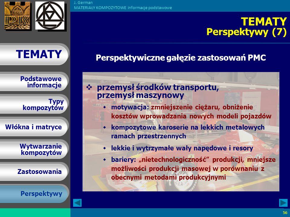Perspektywiczne gałęzie zastosowań PMC