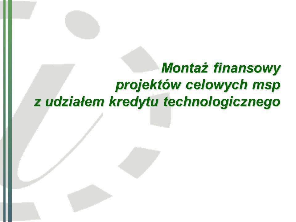 Montaż finansowy projektów celowych msp z udziałem kredytu technologicznego