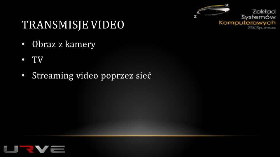 TRANSMISJE VIDEO Obraz z kamery TV Streaming video poprzez sieć