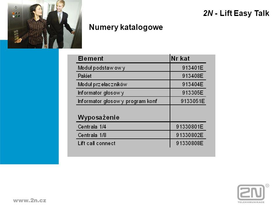 2N - Lift Easy Talk Numery katalogowe